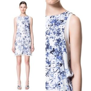 Zara Floral Drop Arm Layered Dress Sleeveless Chif
